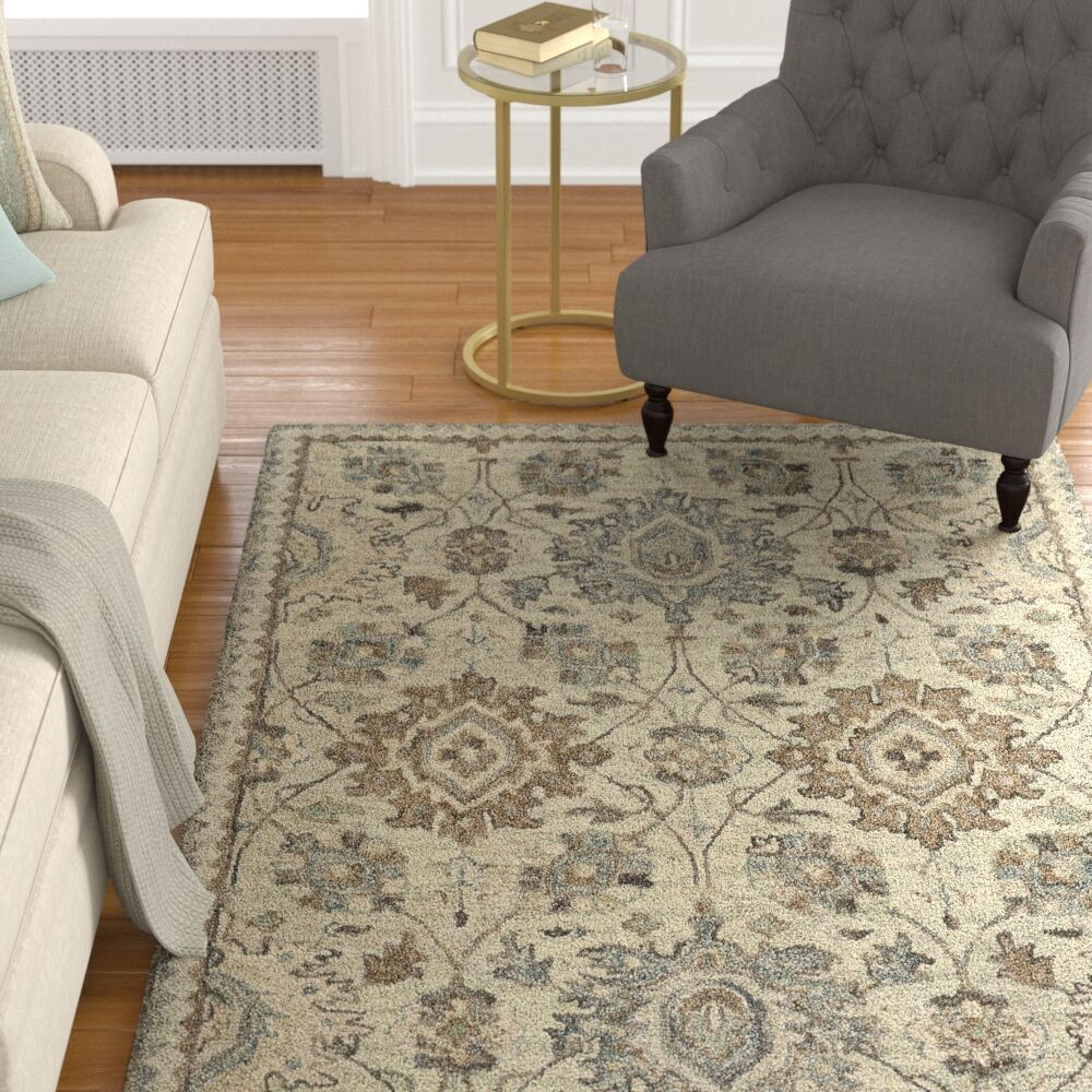 Birch Hill Hand-Tufted Wool Beige Area Rug Rug Size: 5' x 8'