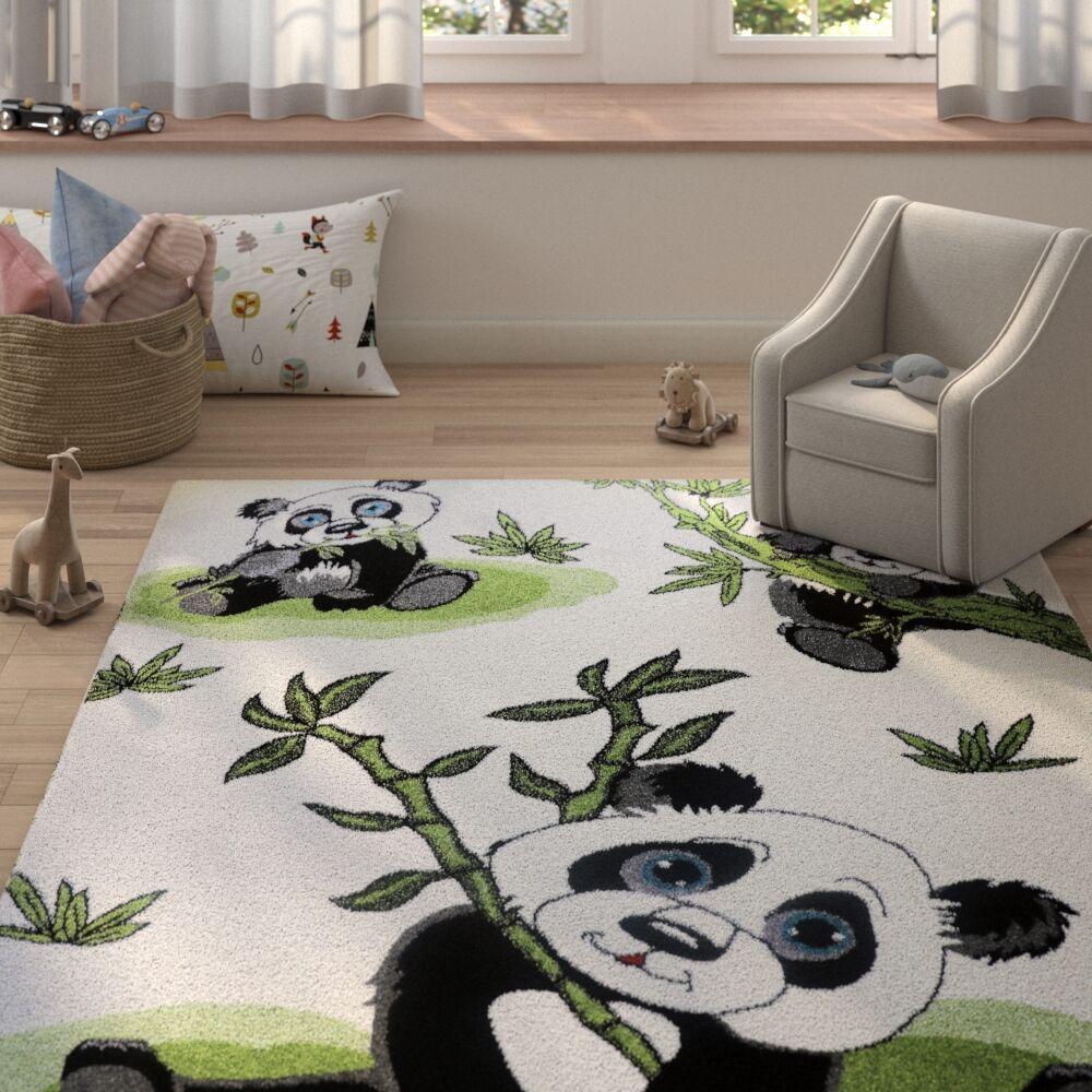 Ketchum Panda Bamboo White/Black Area Rug Rug Size: Rectangle 5'3
