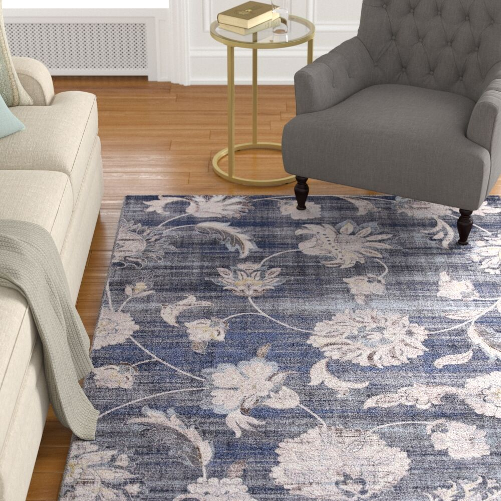 Reames Petals Navy Area Rug Rug Size: Rectangle 9'3