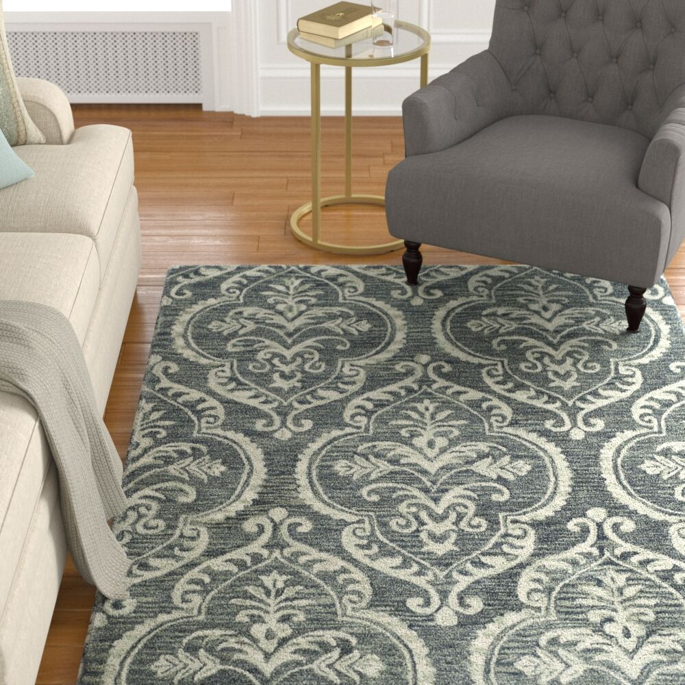 Bevis Hand Tufted Wool Blue and Sage Area Rug Rug Size: Square 6'