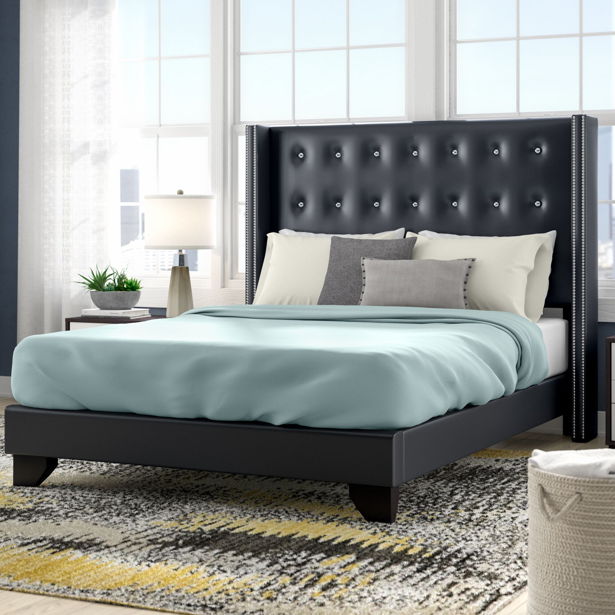 Arno Upholstered Panel Bed Size: Queen