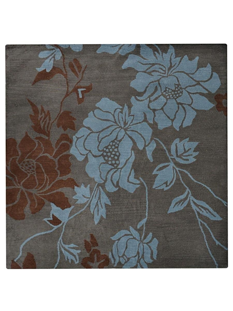 Creager Hand-Tufted Wool Gray/Aqua Area Rug Rug Size: Square 8'