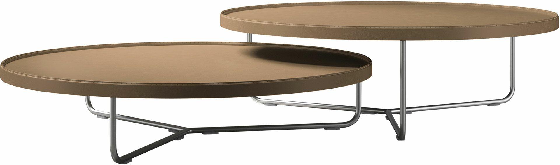 Adelphi 2 Piece Nesting Table Set Color: Dark Beige Reclaimed Leather