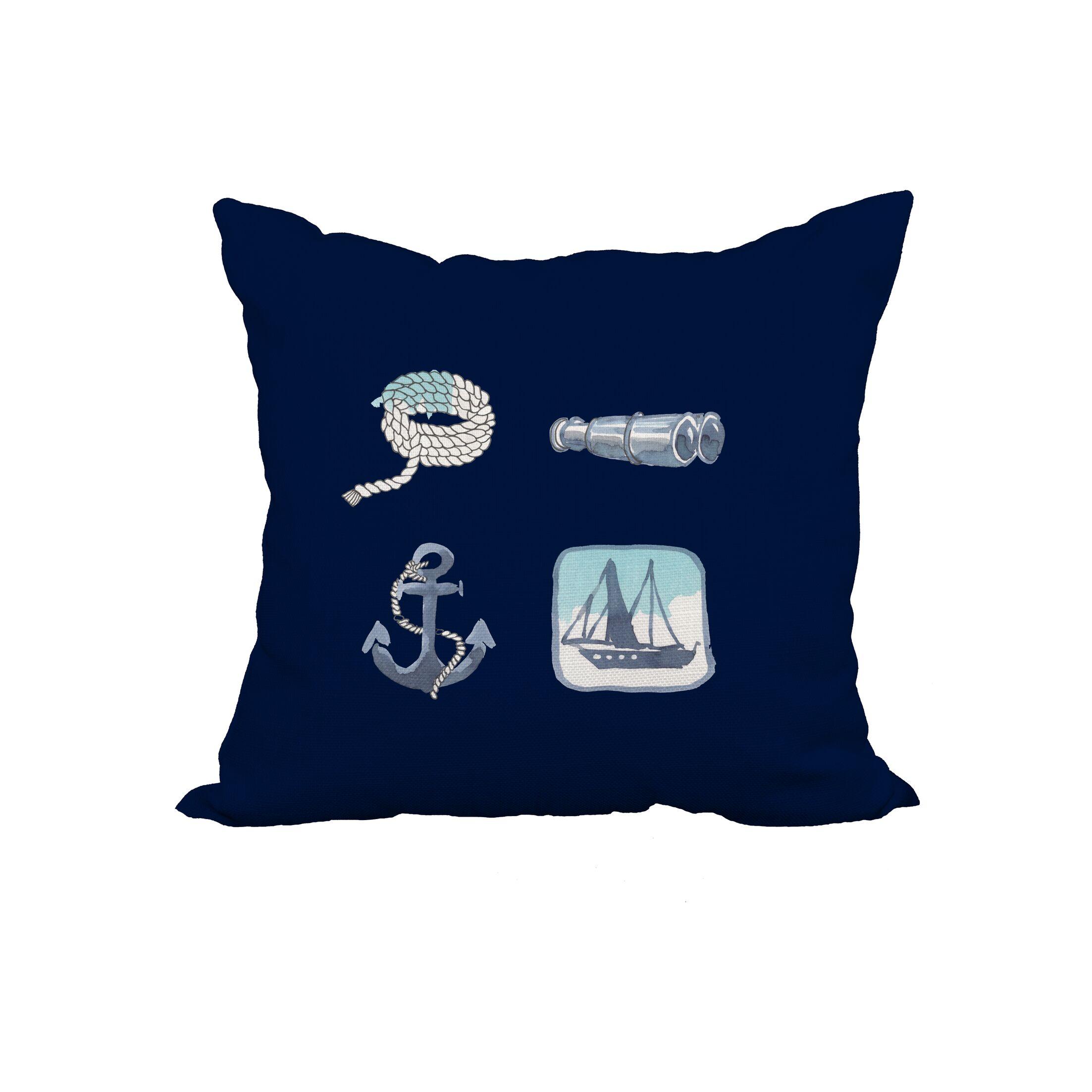 Galilea Sea Tools Print Throw Pillow Size: 20