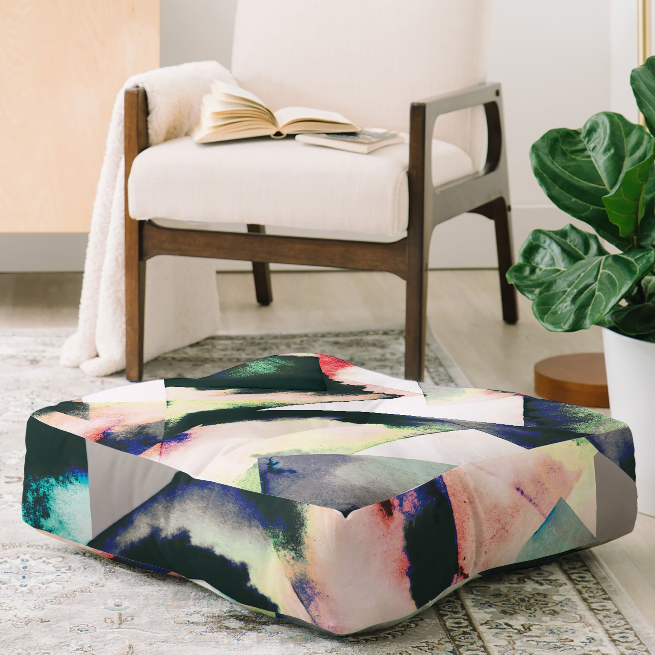 Ninola Design Watercolor Marble Tiles Floor Pillow