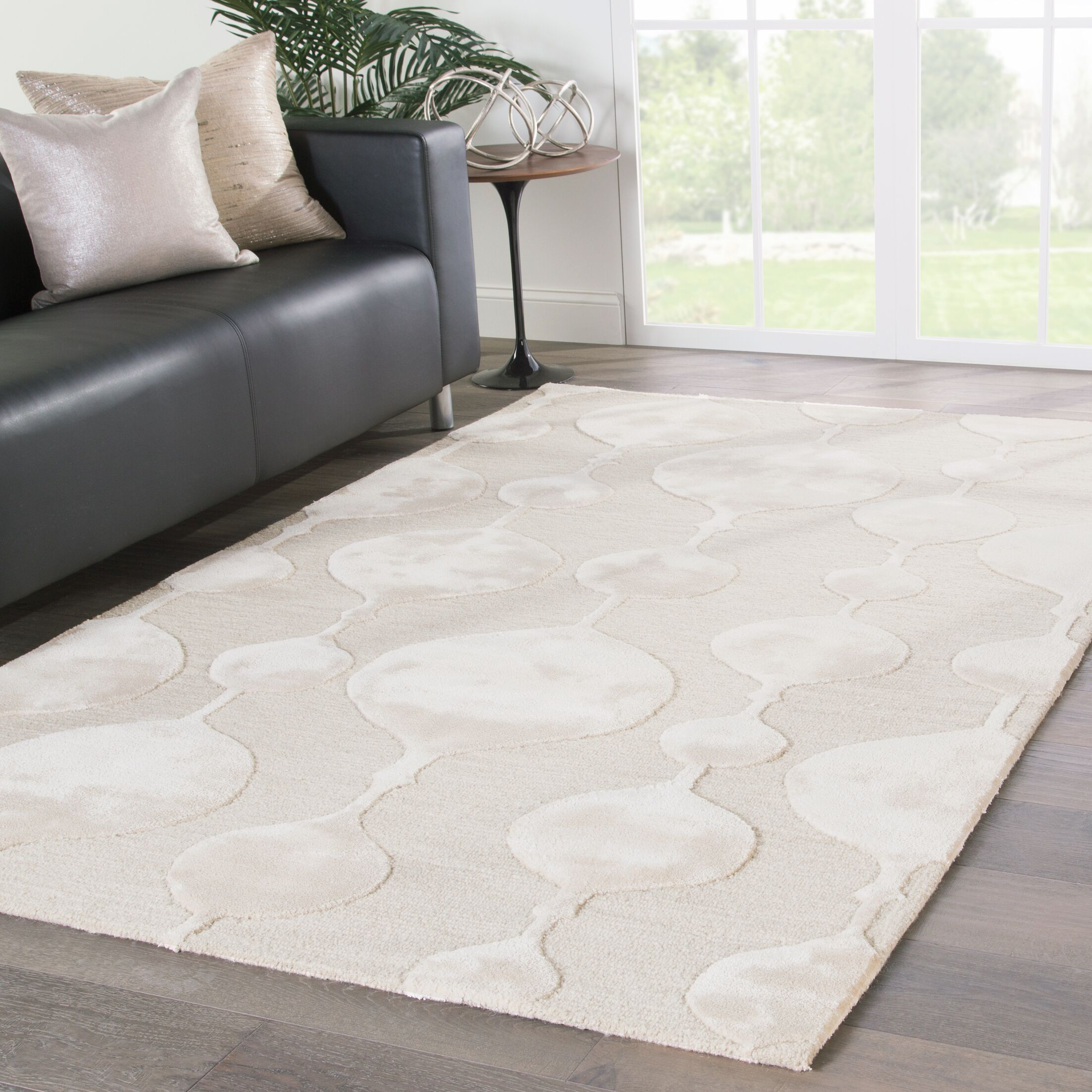 Geometric Jaipur Living Sui Hand-Tufted Beige/Cream Area Rug Rug Size: Rectangle 9' x 12'