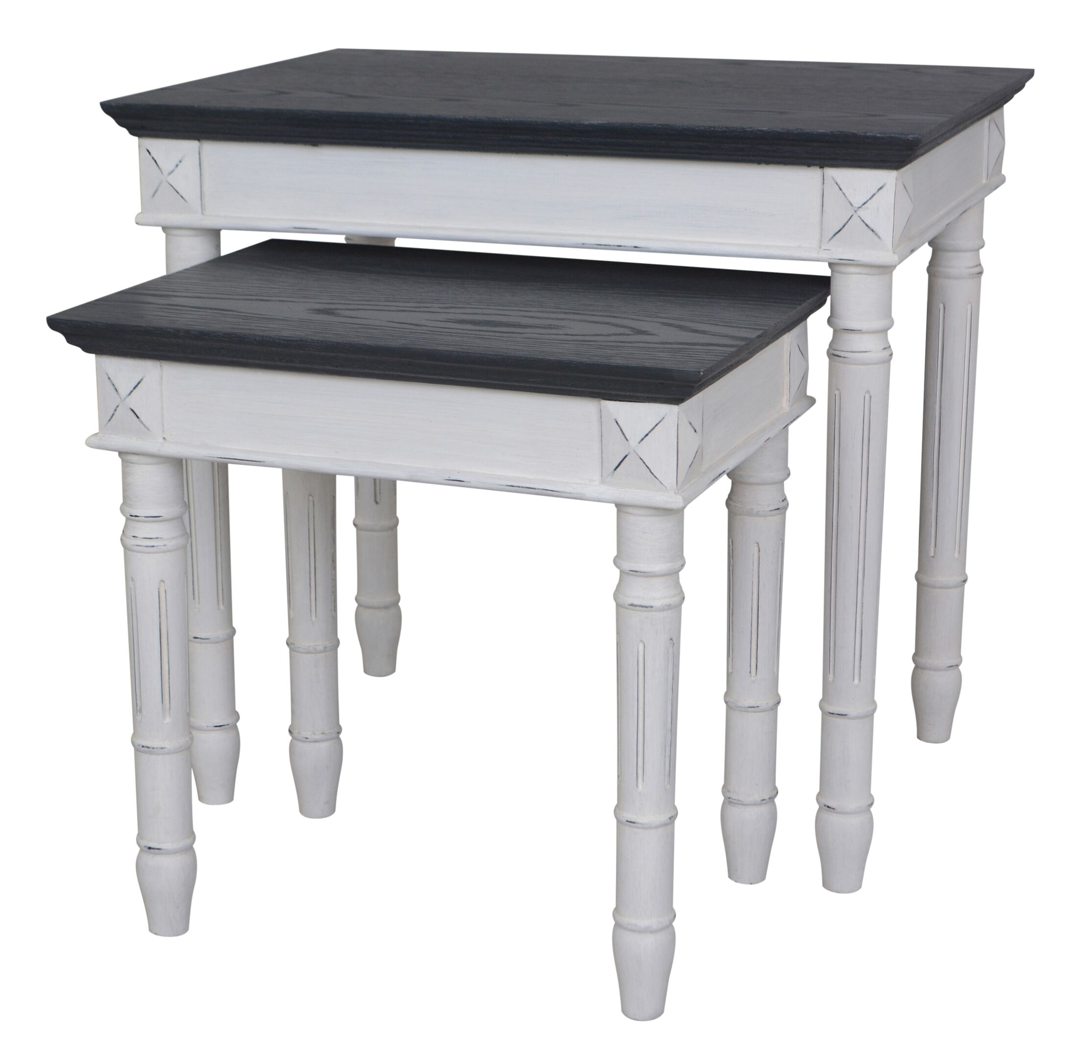 Madison 2 Piece Nesting Tables Table Top Color: Black