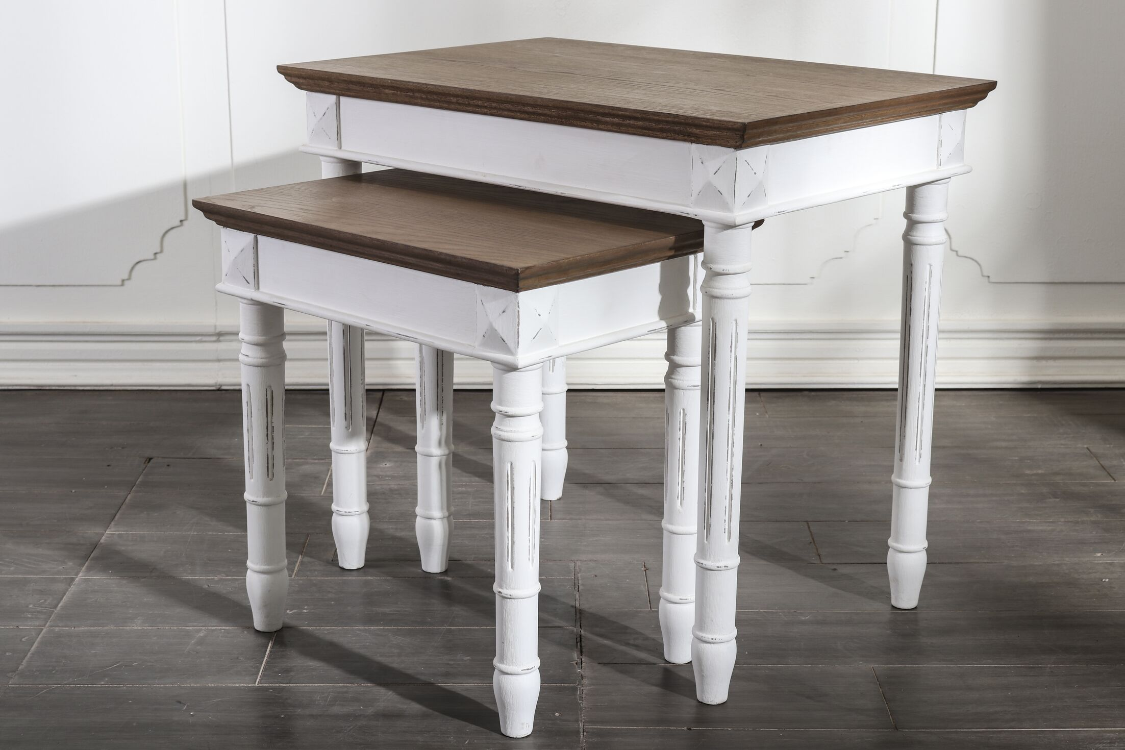 Madison 2 Piece Nesting Tables Table Top Color: Brown