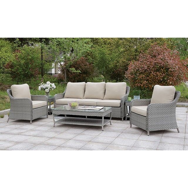 Ondine 4 Piece Wicker Sofa Seating Group with Cushions