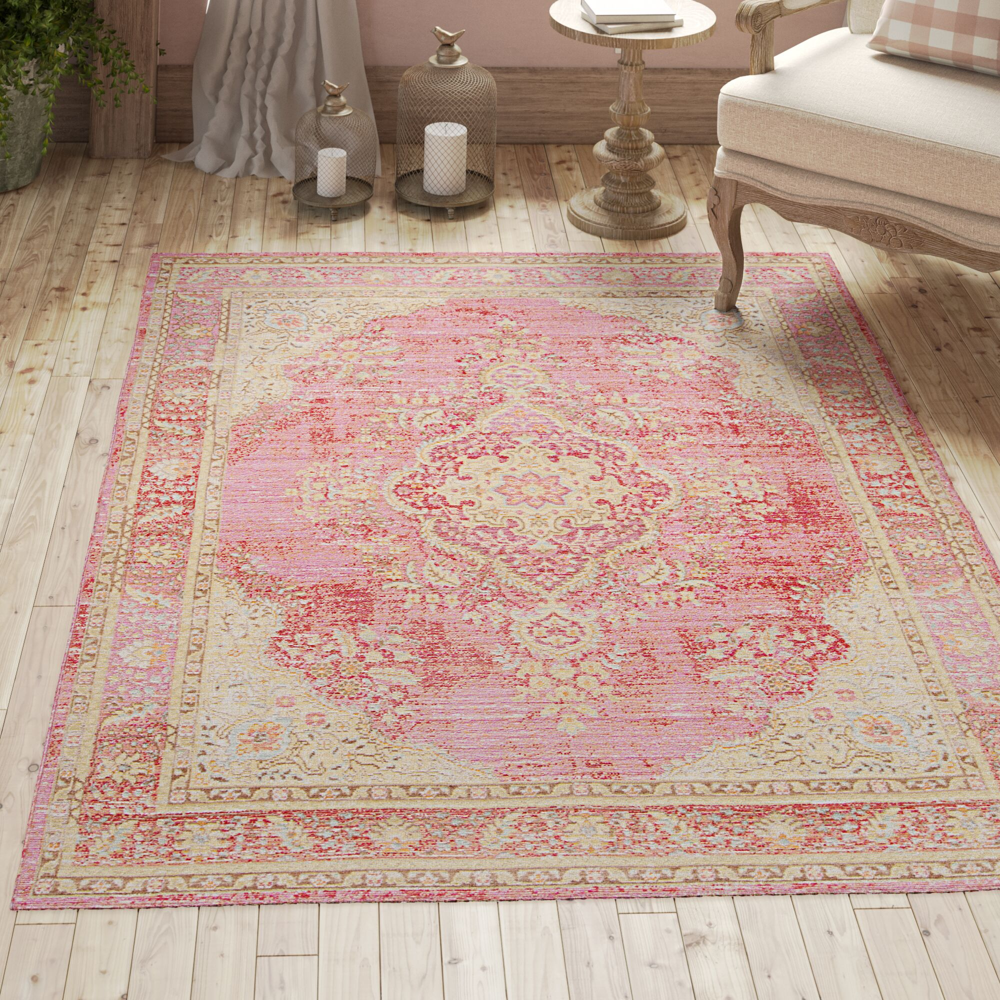 Sofian Pink Oriental Area Rug Rug Size: Rectangle 5'3
