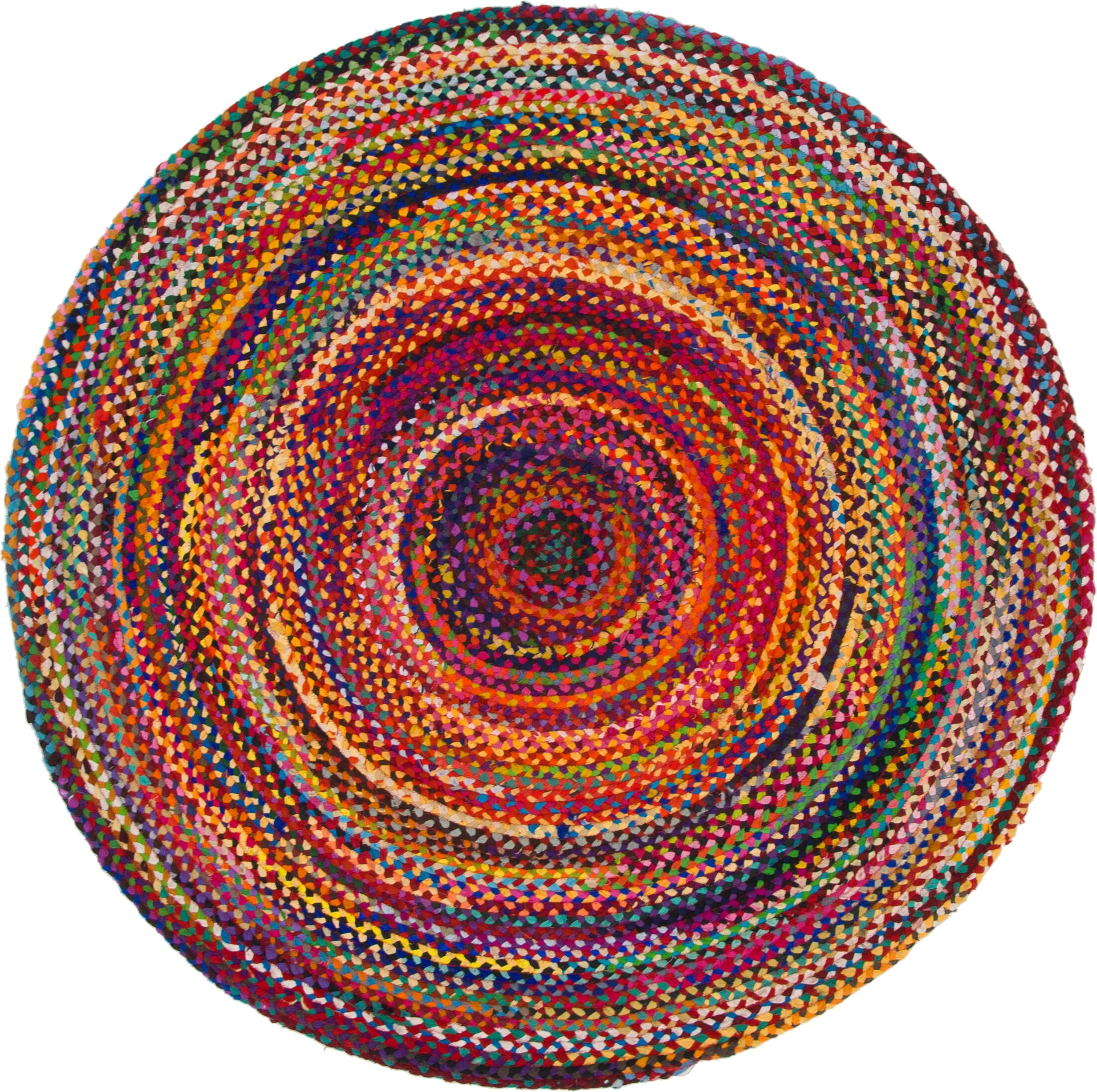 Partee Hand-Braided Red Area Rug Rug Size: Round 6' x 6'