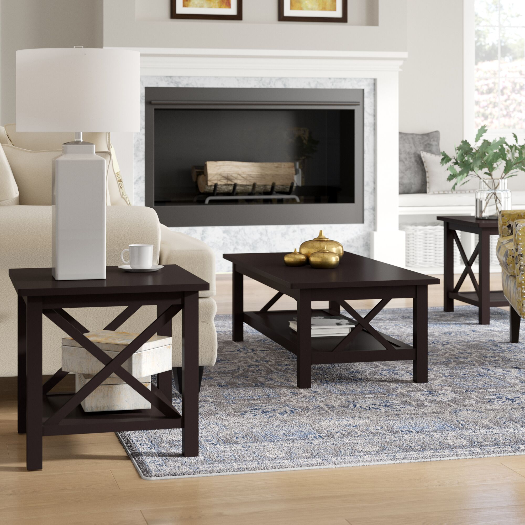 Boutwell 3 Piece Coffee Table Set Color: Black