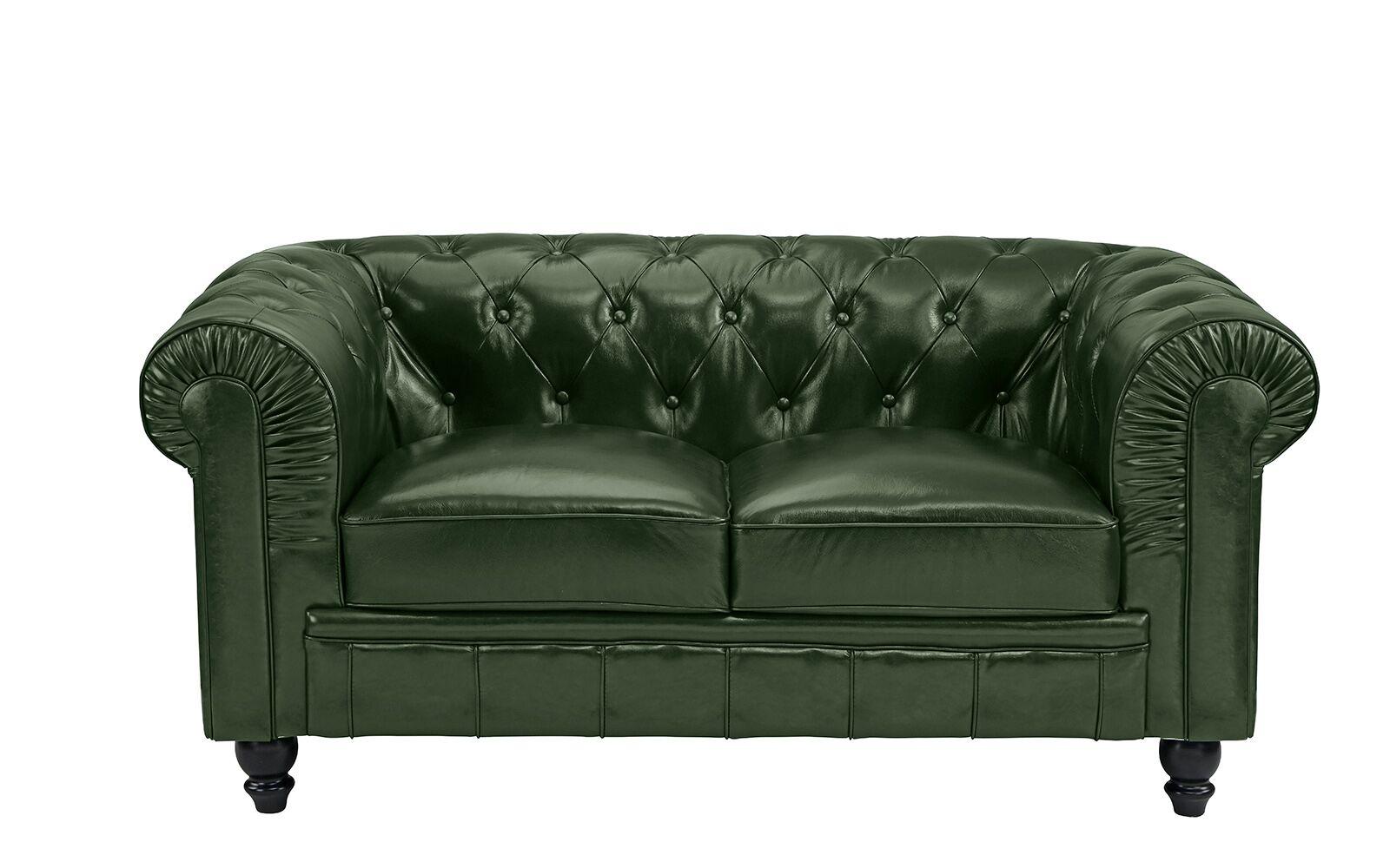 Mckayla Leather Chesterfield Loveseat Finish: Green