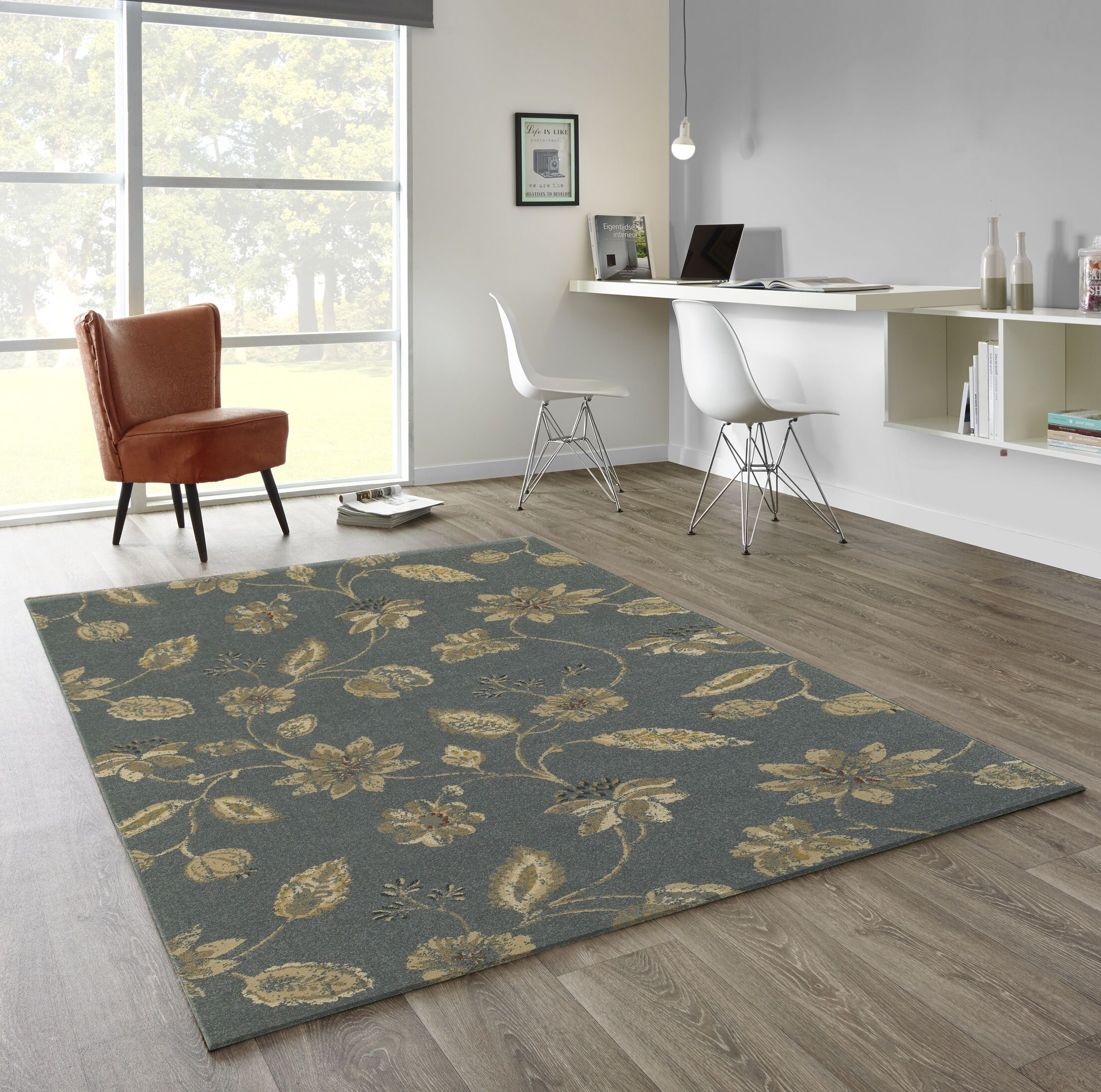Enid Classic Floral Gray Area Rug