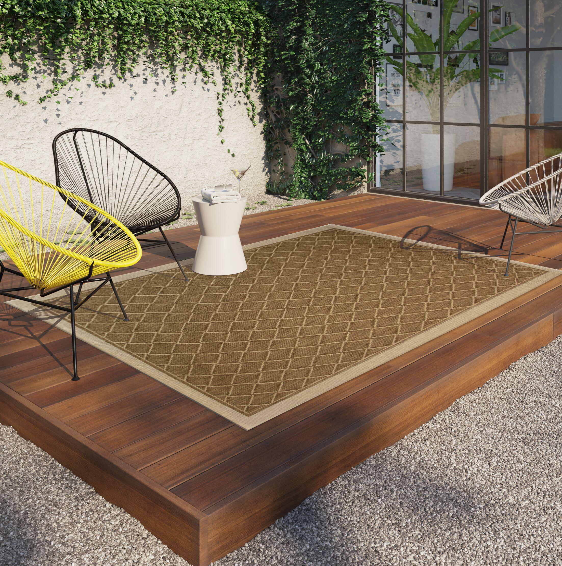 Samuel Diamond Maze Tan/Brown Indoor/Outdoor Area Rug Rug Size: Rectangle 8' x 10'