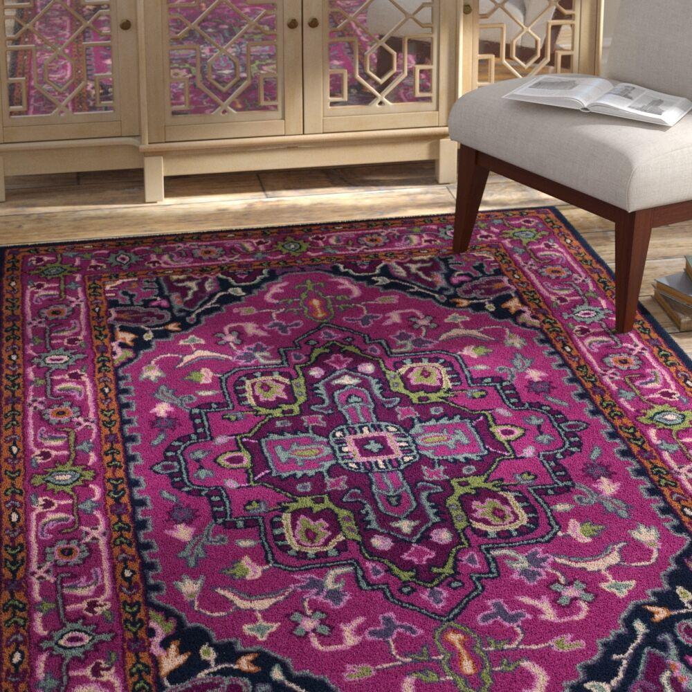 Blokzijl Hand-Tufted Wool Pink/Navy Area Rug Rug Size: Rectangle 8' x 10'