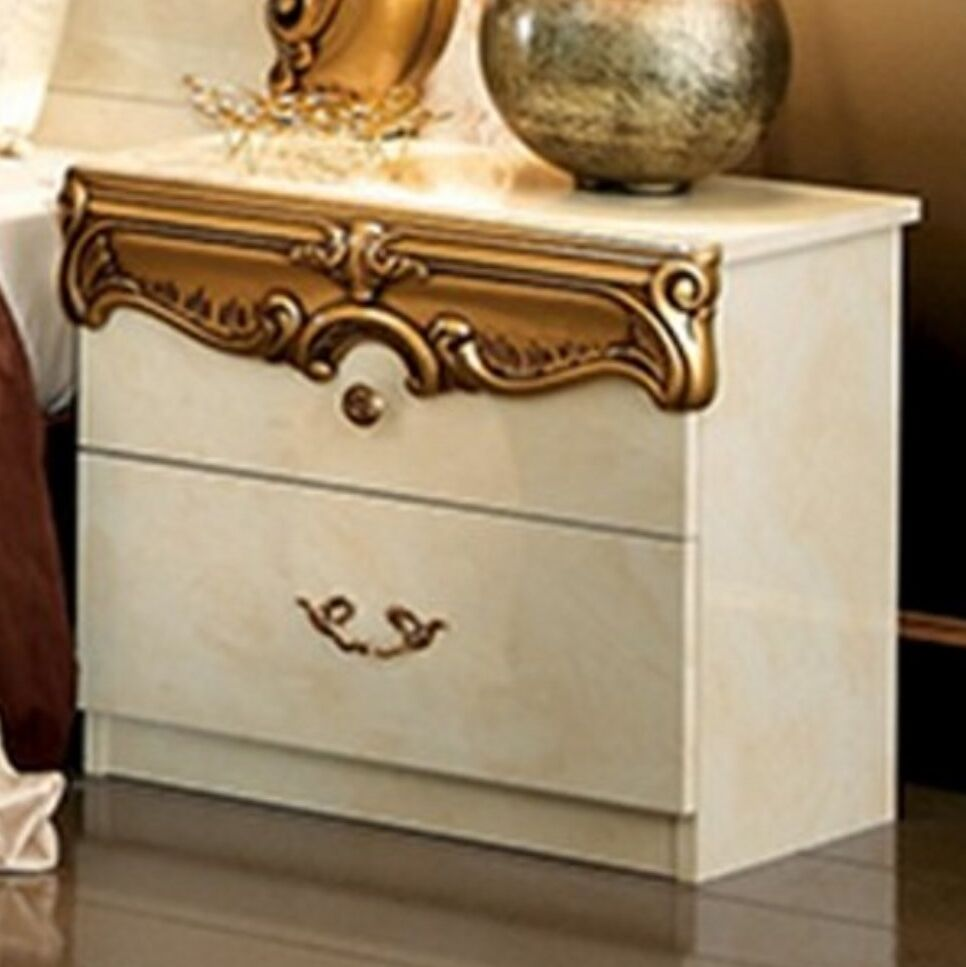 Alexzander 2 Drawer Nightstand Color: Ivory/Gold