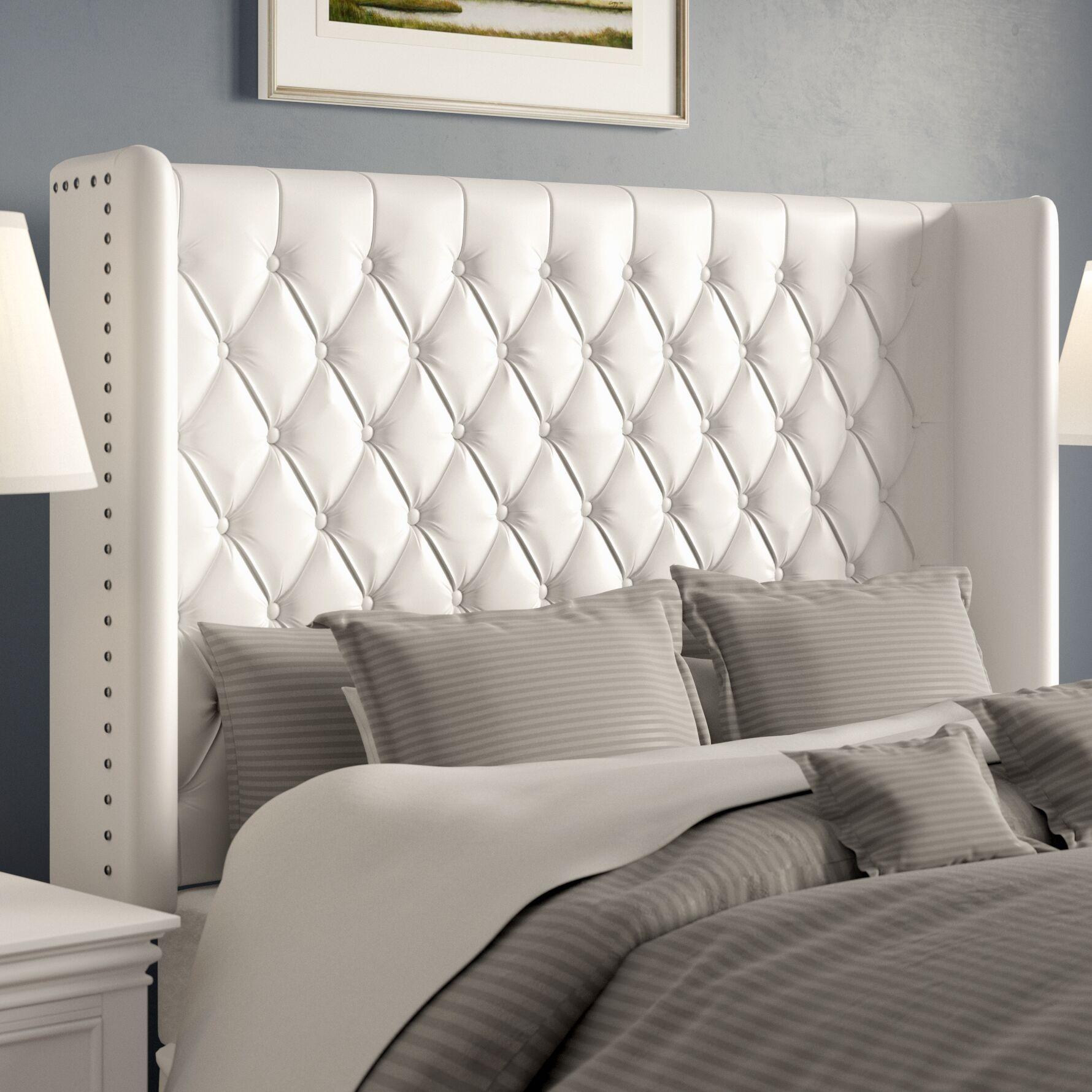 Center Trenton Upholstered Wingback Headboard Size: Full, Upholstery: Velvet White