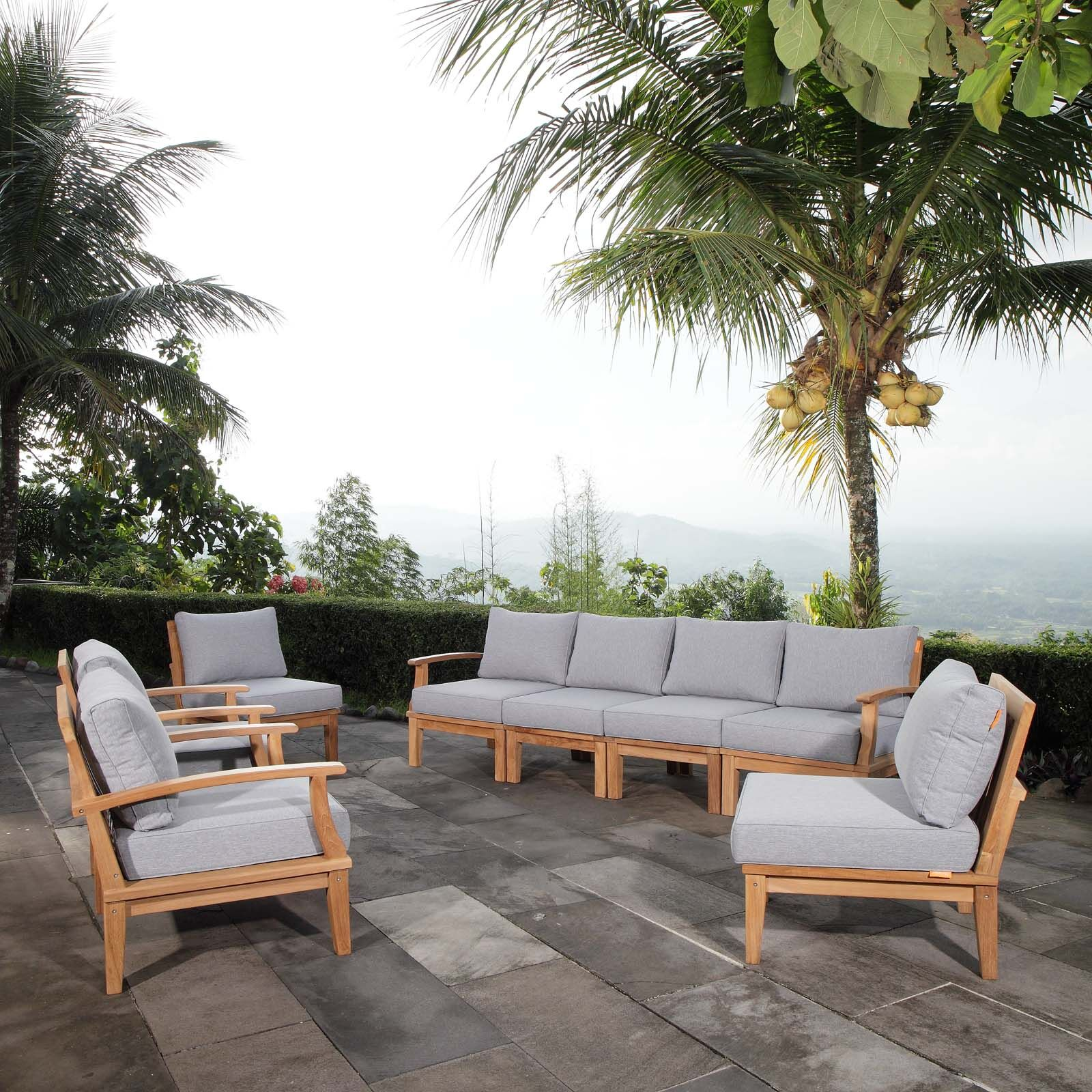 Elaina Outdoor Patio 8 Piece Teak Sectional Seating Group with Cushion Cushion Color: Gray