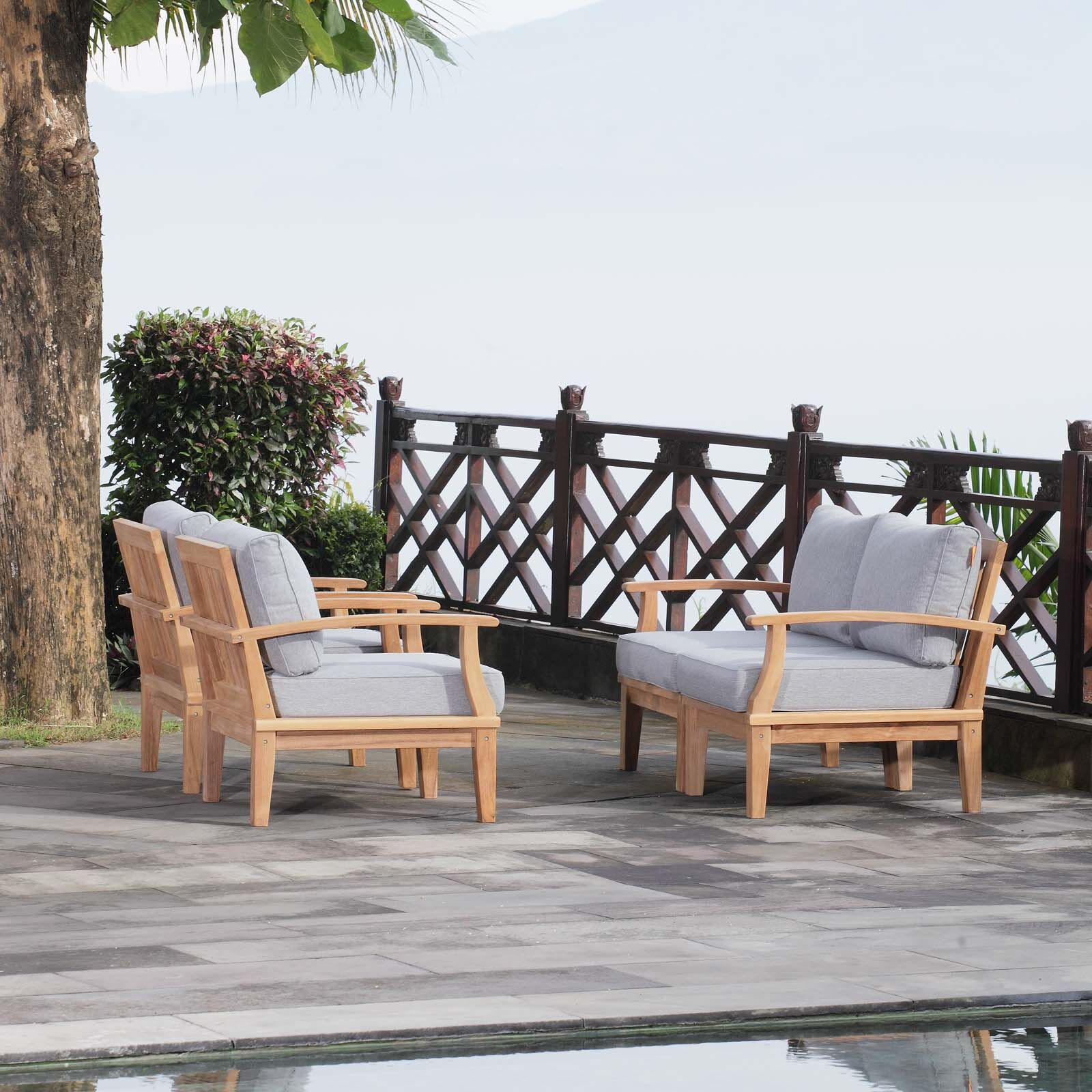 Elaina Outdoor Patio 4 Piece Teak Sofa Seating Group with Cushion Cushion Color: Gray