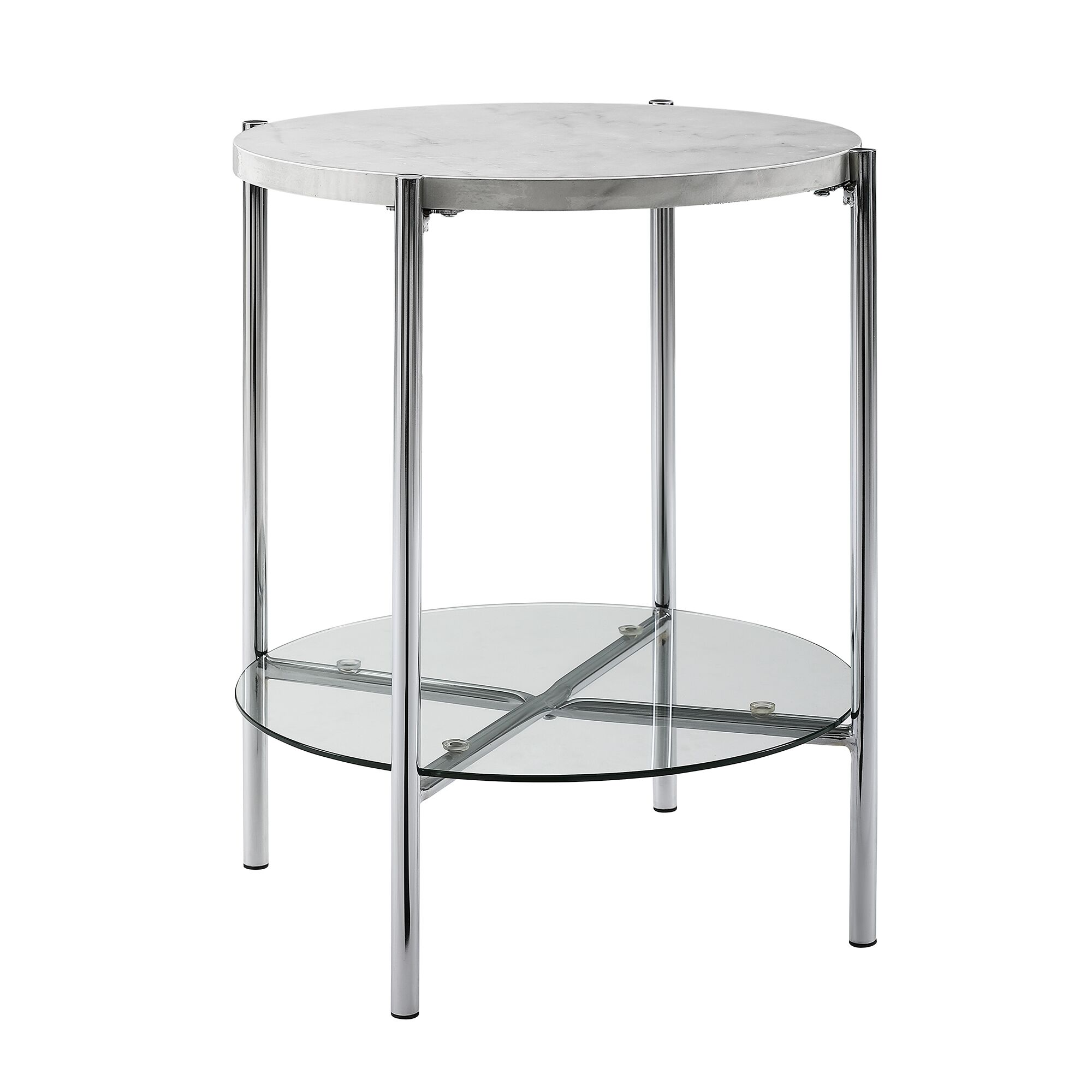 Carr Round End Table Color: Faux White/Chrome