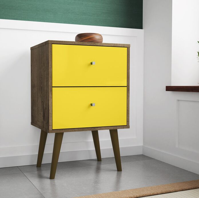 Lewis 2 Drawer Nightstand Color: Rustic Brown/Yellow