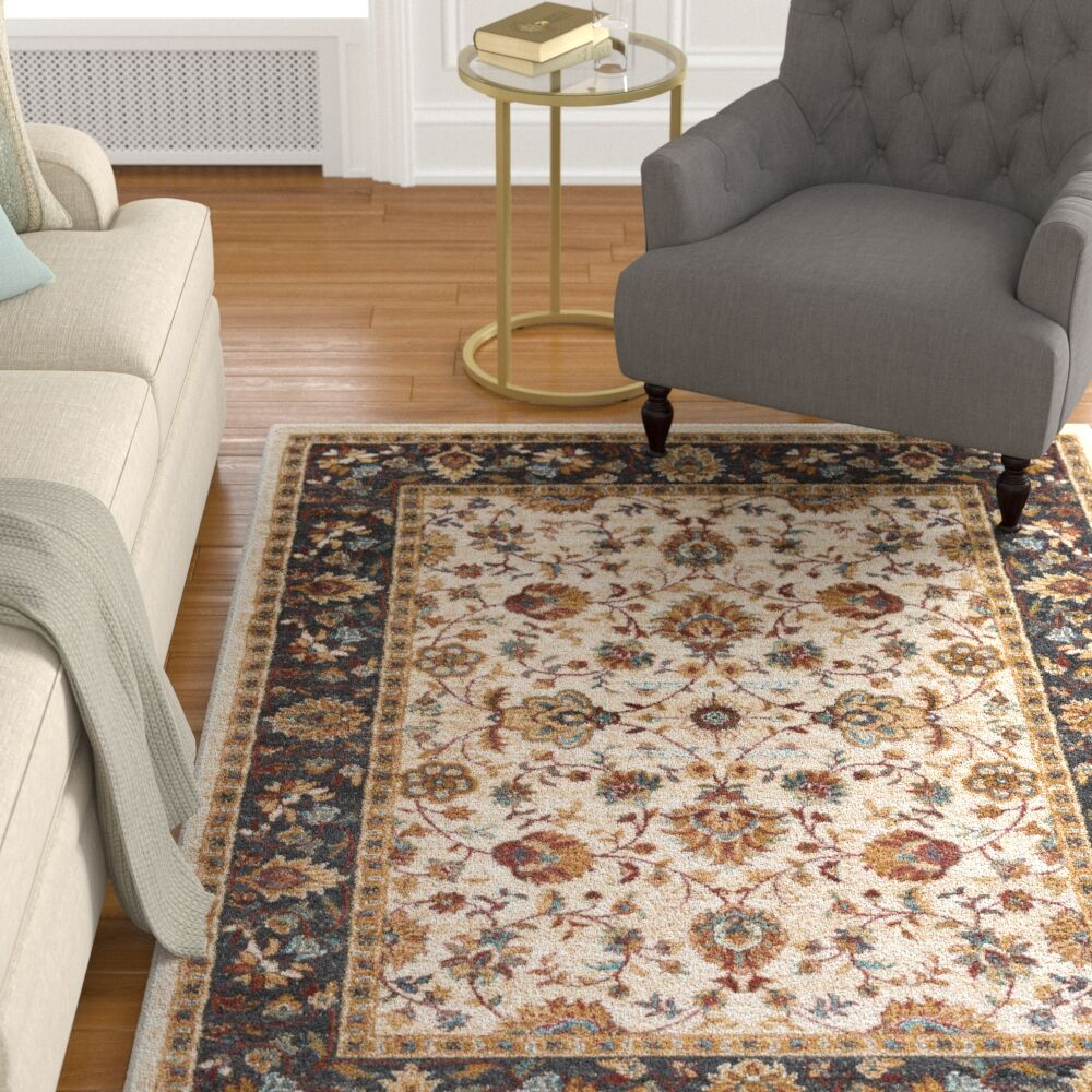 Eadie Ivory/Crimson Red Area Rug Rug Size: Rectangle 7'10