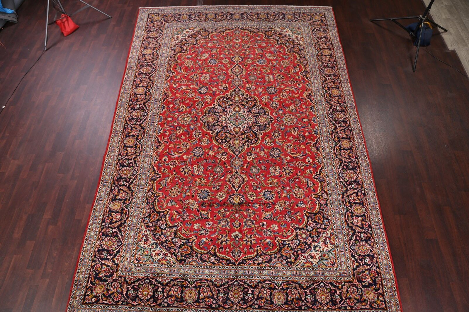 One-of-a-Kind Nace Floral Kashan Persian Hand-Knotted 9'5