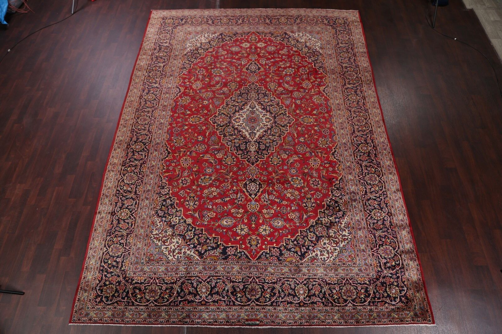 One-of-a-Kind Floral Kashan Vintage Persian Hand-Knotted 9'6