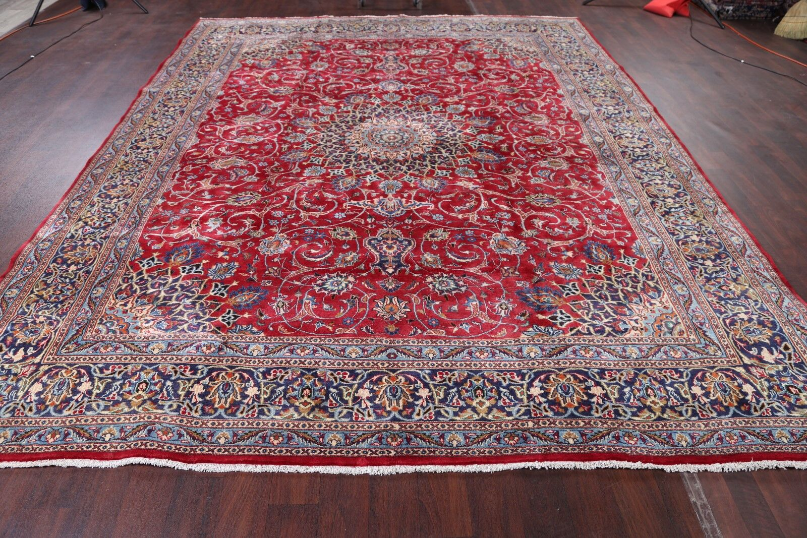 One-of-a-Kind Floral Kashmar Vintage Persian Hand-Knotted 9'8