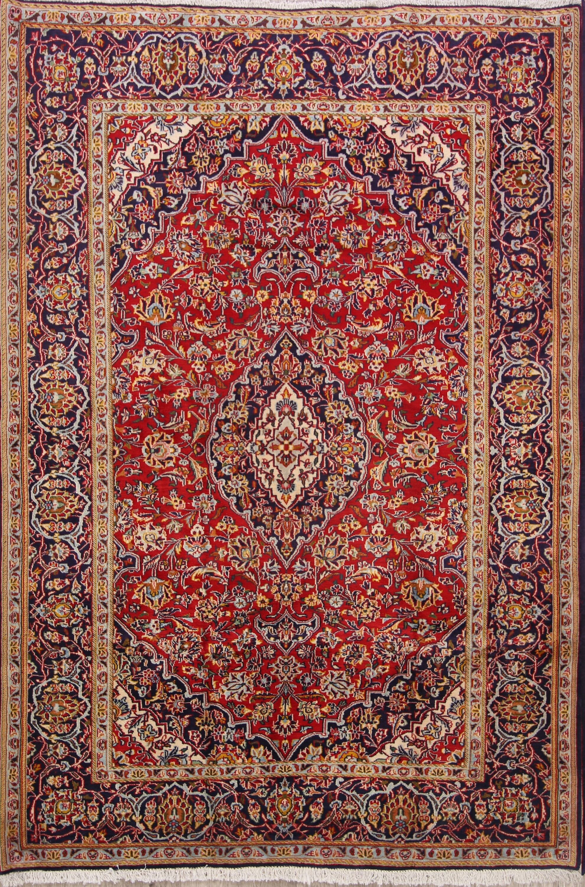 One-of-a-Kind Floral Kashan Dabir Persian Traditional Hand-Knotted 4'9