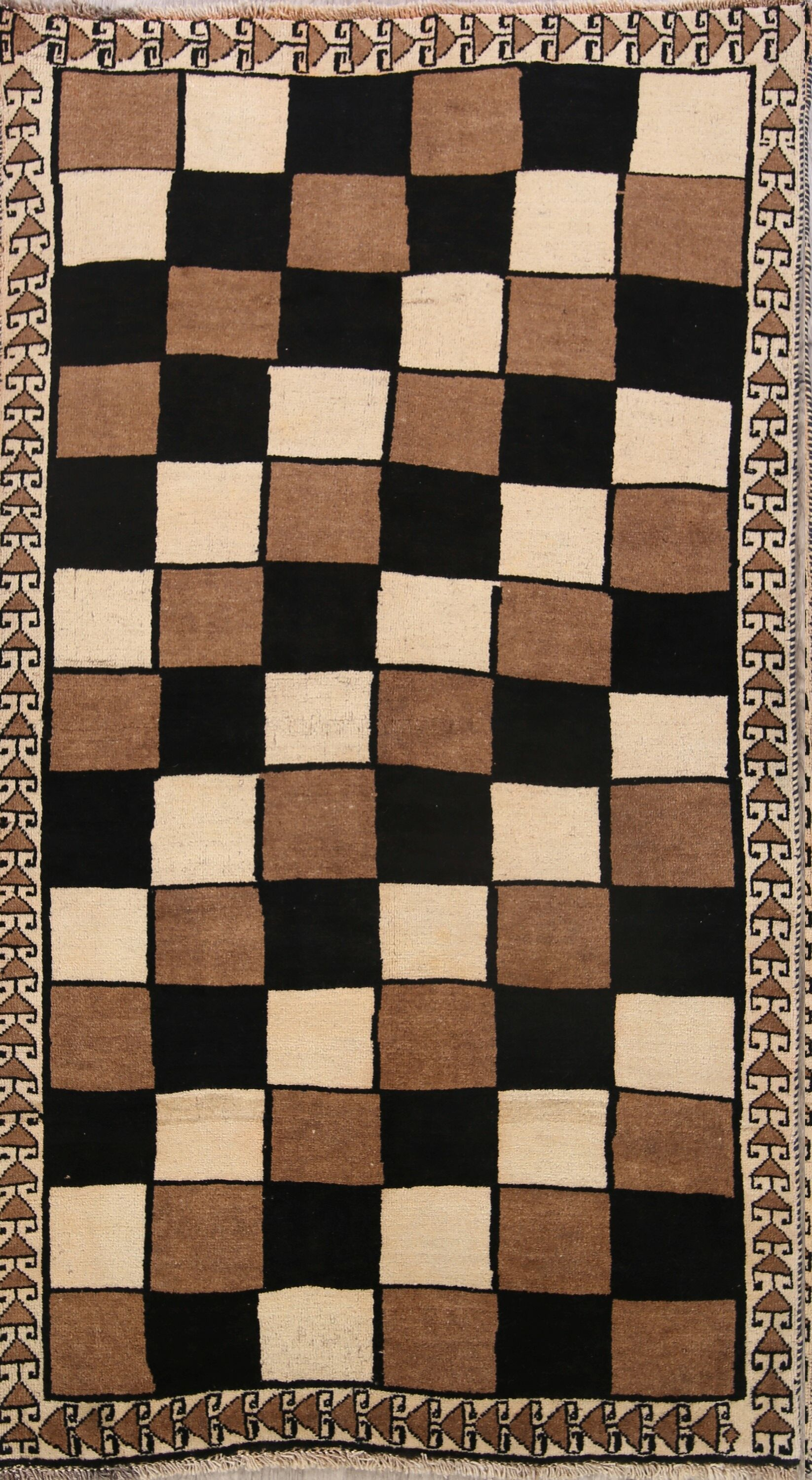 One-of-a-Kind Traditional Checked Modern Gabbeh Shiraz Persian Hand-Knotted 3'8
