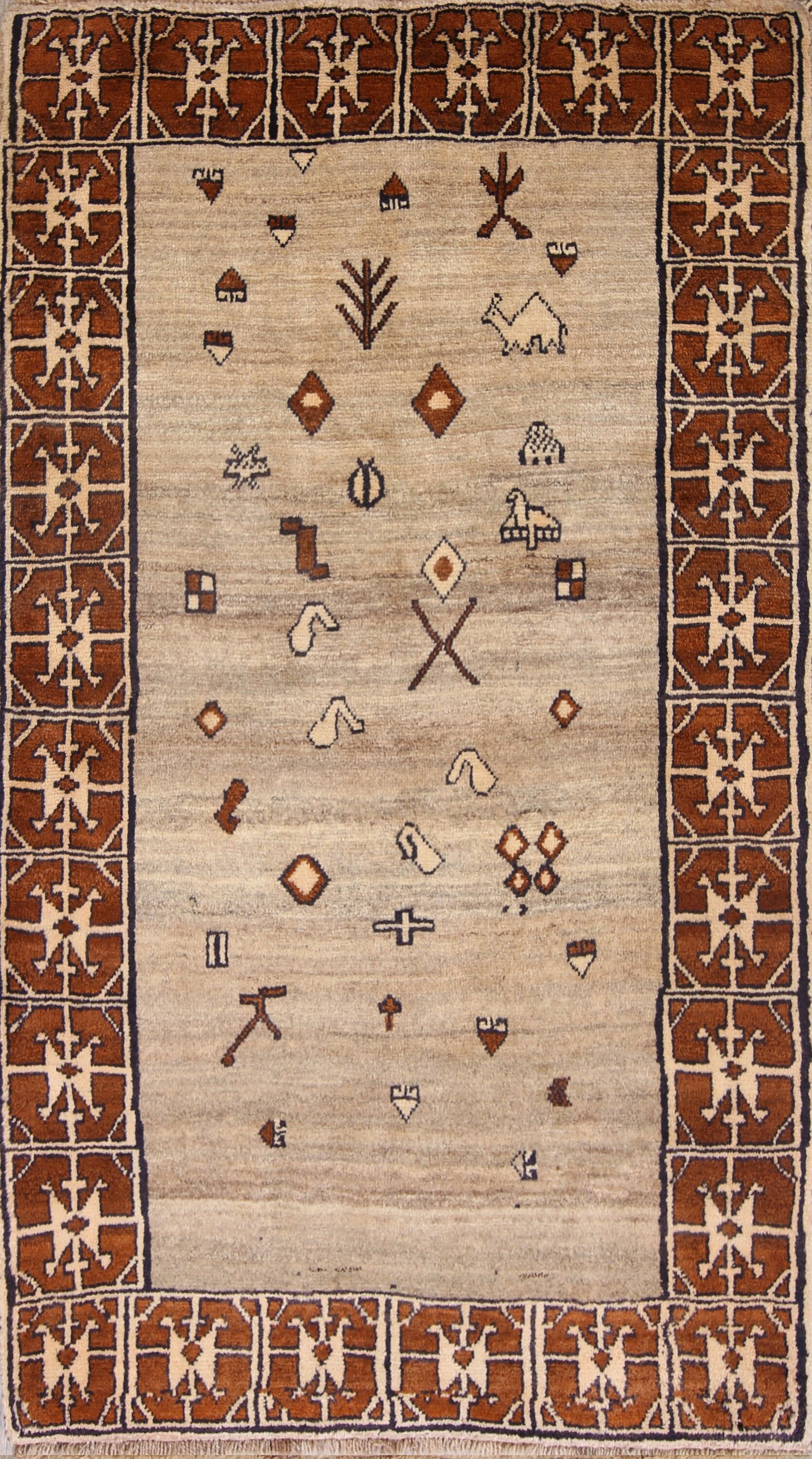 One-of-a-Kind Geometric Tribal Traditional Nomad Gabbe Shiraz Persian Hand-Knotted 3'10