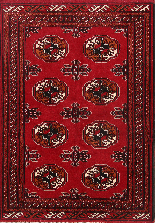 One-of-a-Kind Geometric Balouch Bokara Turkoman Persian Hand-Knotted 3'4