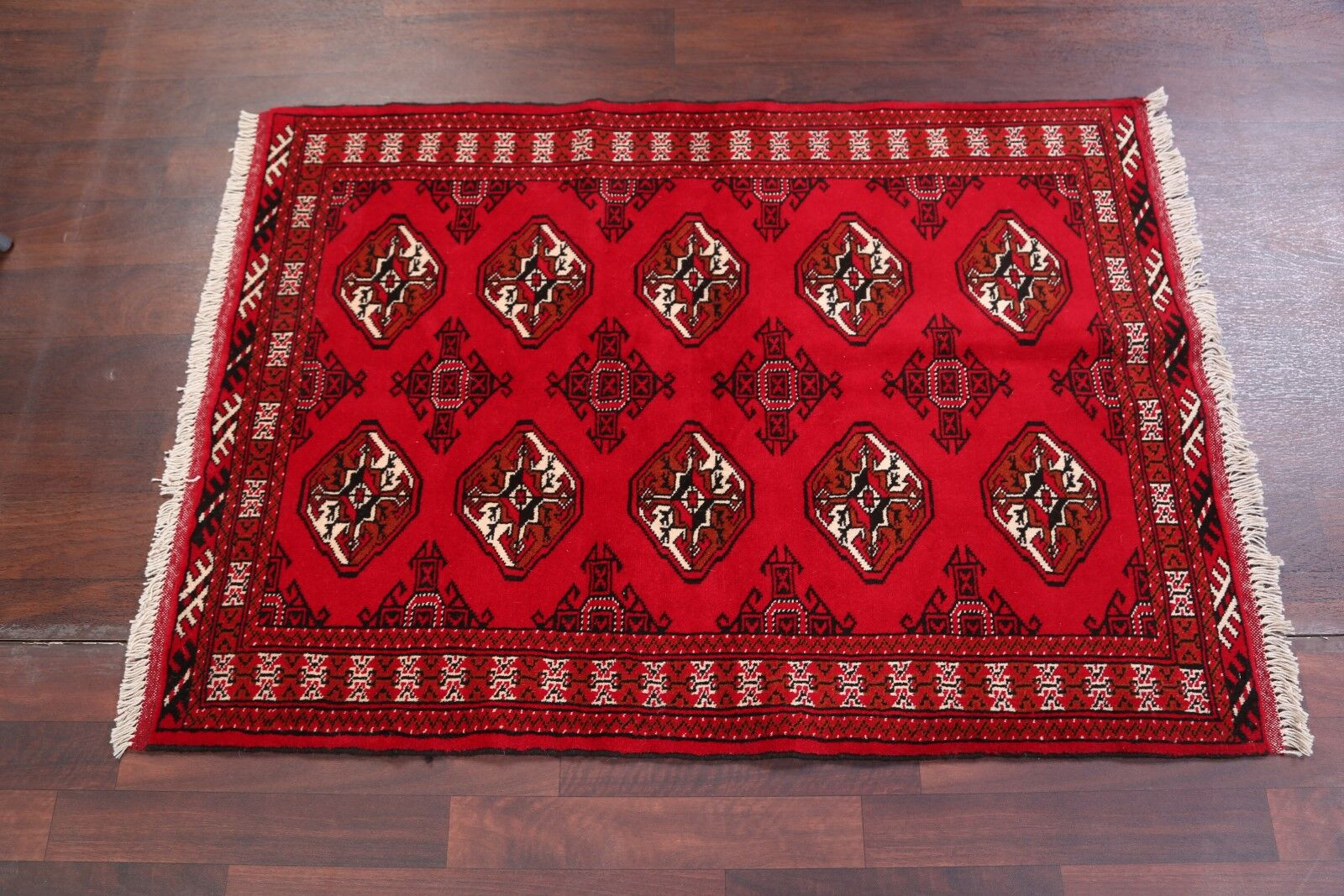 One-of-a-Kind Geometric Foyer Balouch Bokara Persian Hand-Knotted 3'4