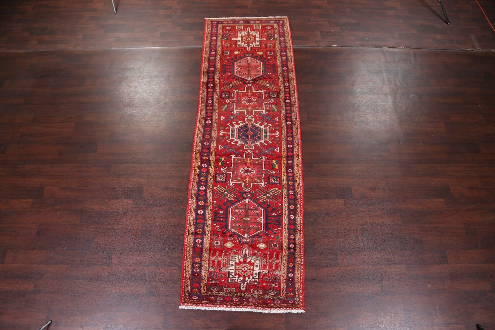 One-of-a-Kind Marriott Vintage Traditional Geometric Tribal Heriz Persian Hand-Knotted 3'7