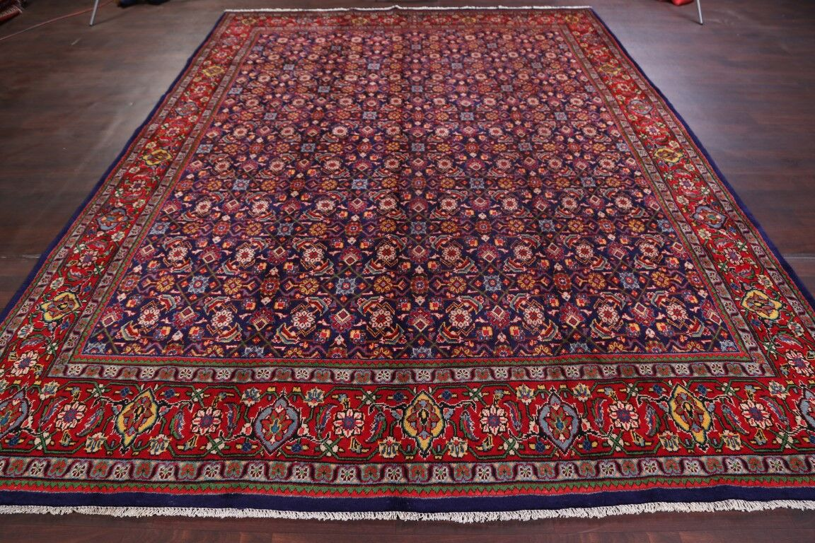 One-of-a-Kind Mercier Vintage Traditional All Over Floral Sarouk Persian Hand-Knotted 9'5