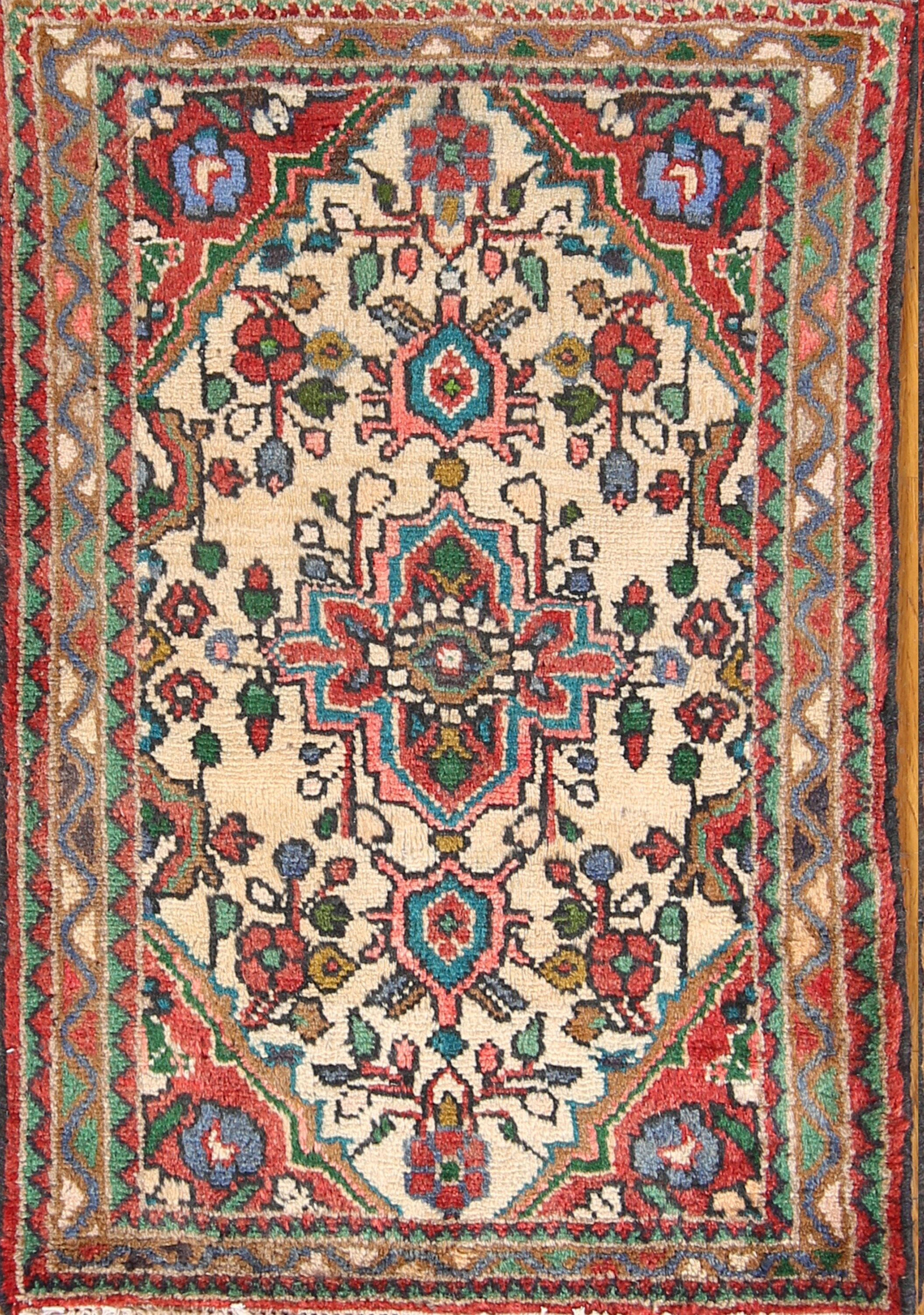 One-of-a-Kind Traditional Floral Hamedan Persian Vintage Hand-Knotted 1'9