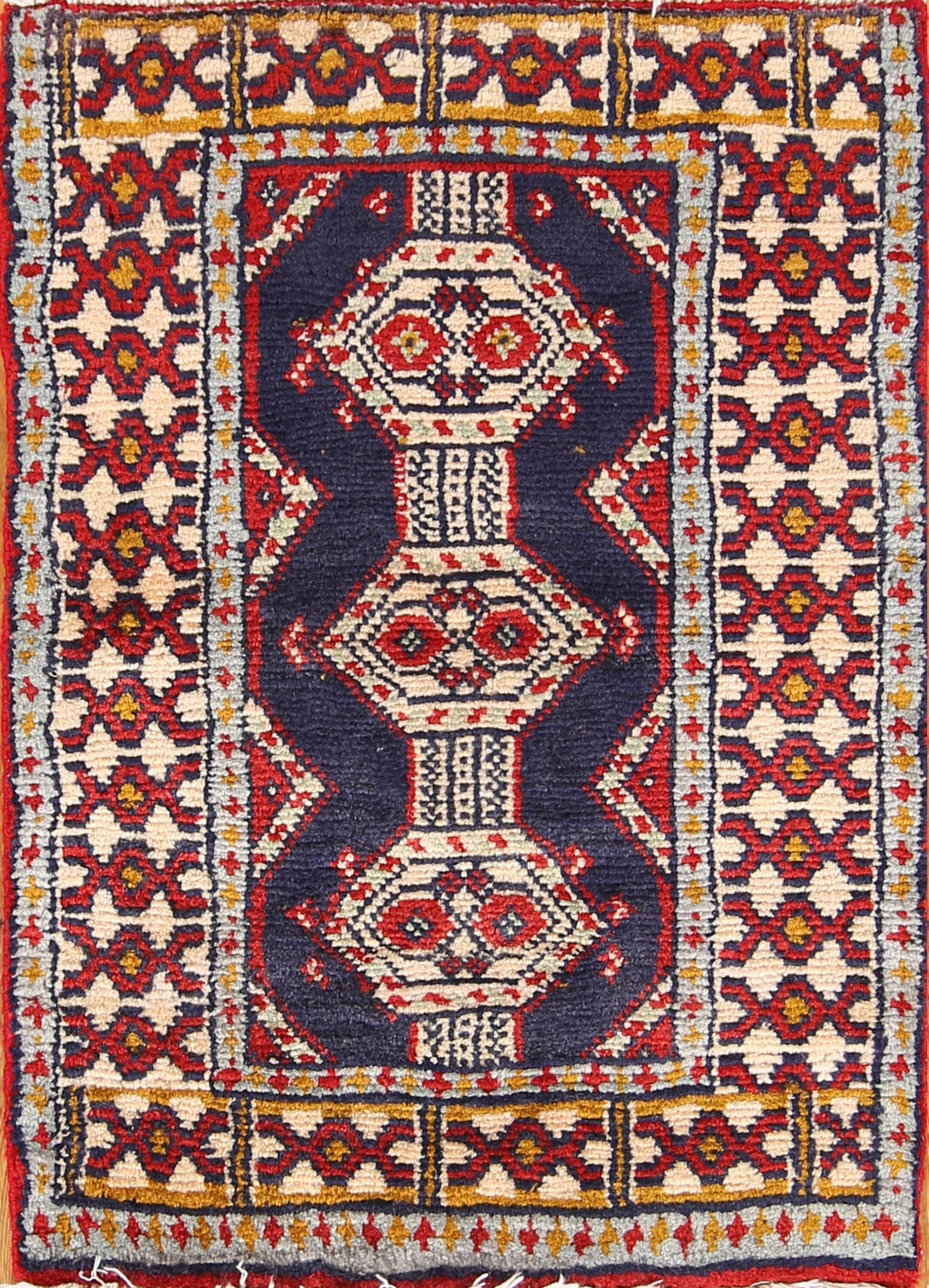 One-of-a-Kind Traditional Geometric Tribal Turkoman Balouch Persian Hand-Knotted 1'9