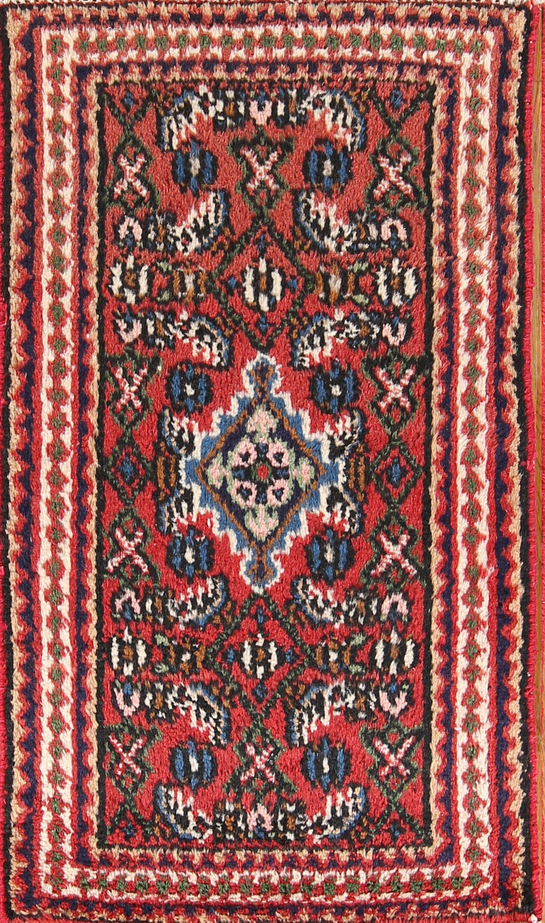 One-of-a-Kind Geometric Hamedan Vintage Persian Hand-Knotted 1'7