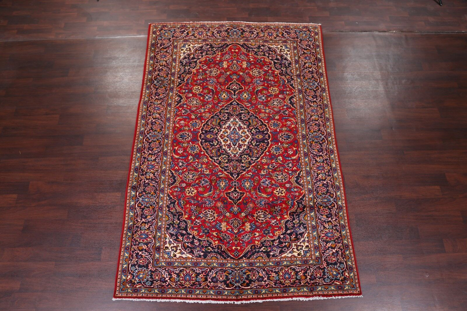 One-of-a-Kind Traditional Floral Kashan Persian Hand-Knotted 6'7