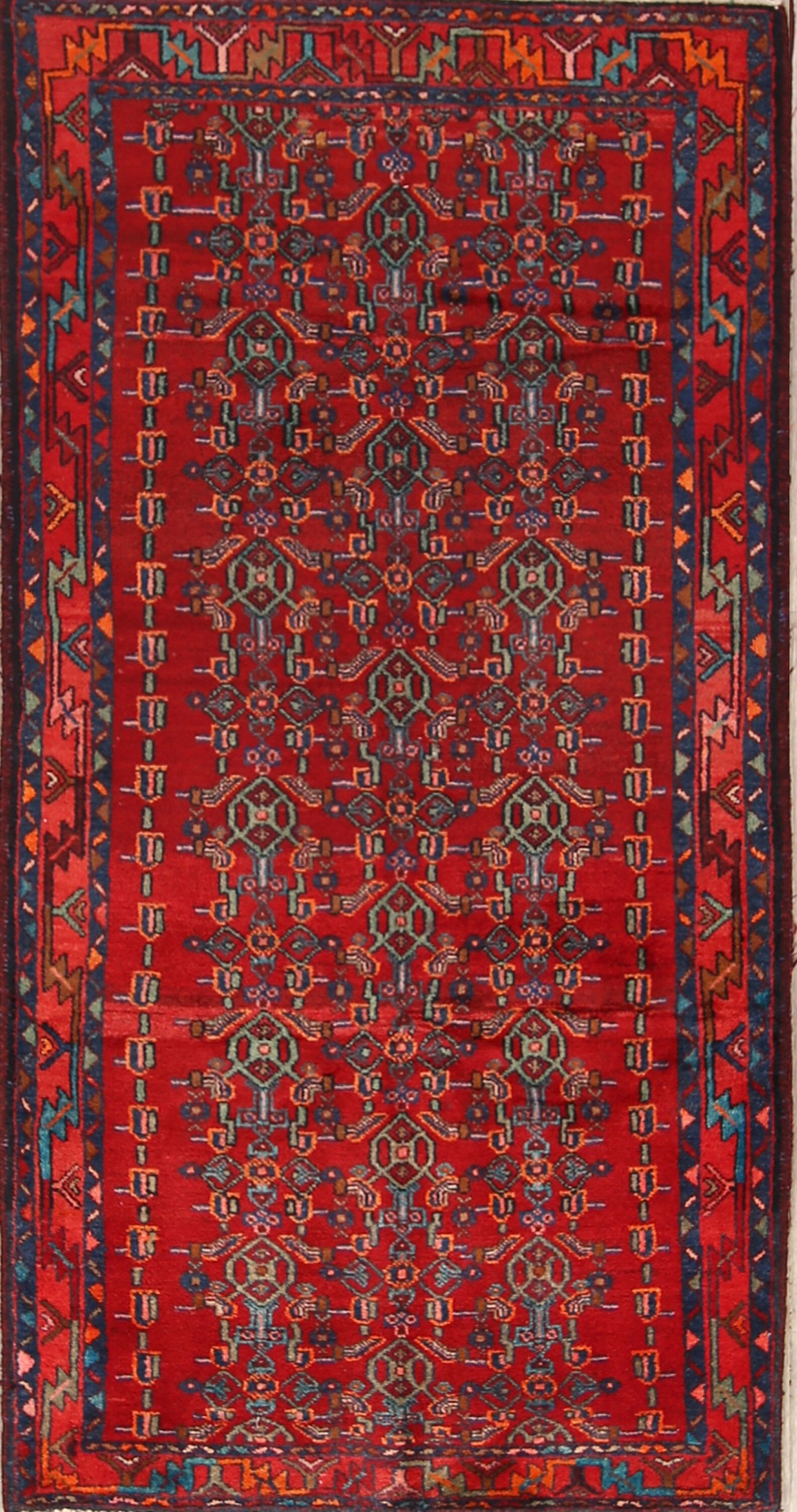 One-of-a-Kind Traditional Geometric Malayer Hamedan Persian Hand-Knotted 3'7