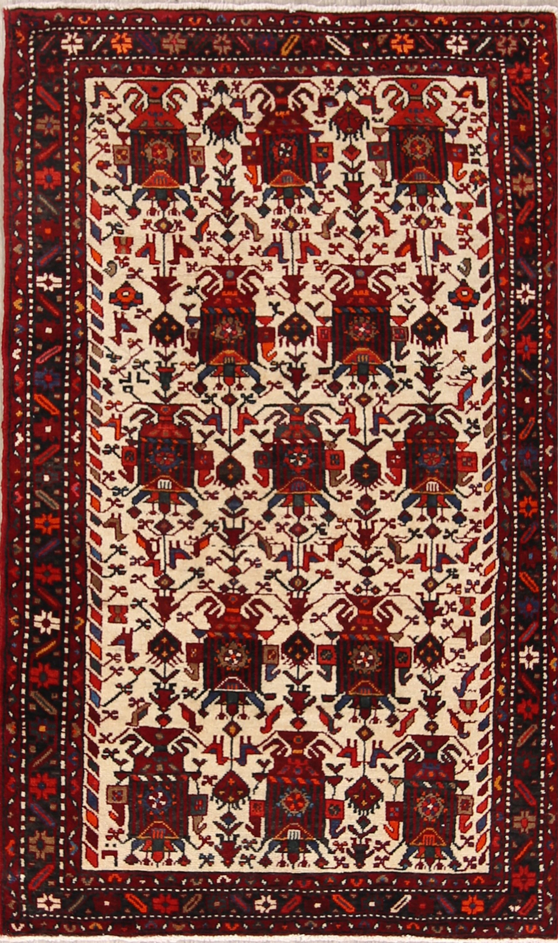 One-of-a-Kind Traditional Geometric Tribal Gharajeh Persian Hand-Knotted 4'1