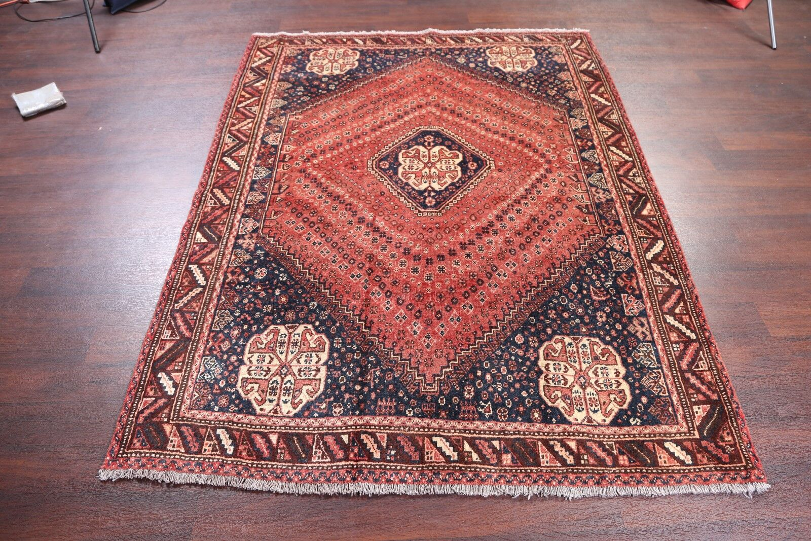 One-of-a-Kind Geometric Abadeh Shiraz Persian Hand-Knotted 5'6