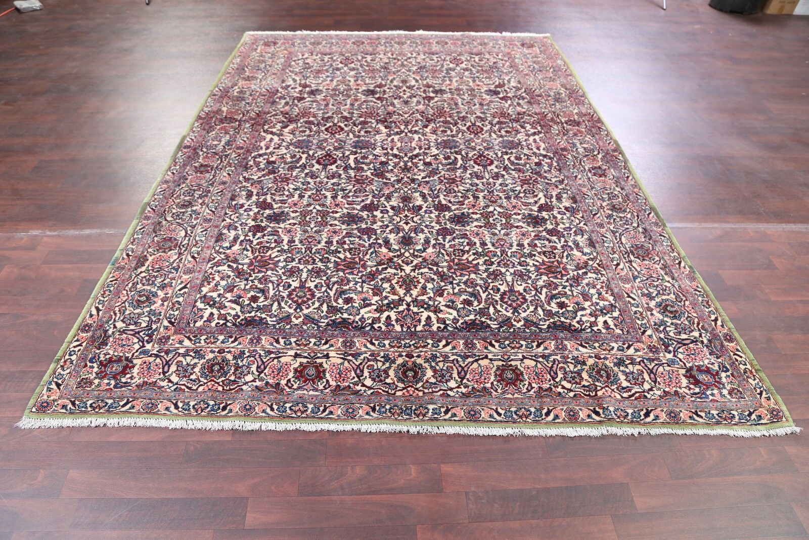 One-of-a-Kind Classical Floral Kerman Lavar Ravar Persian Hand-Knotted 7'3