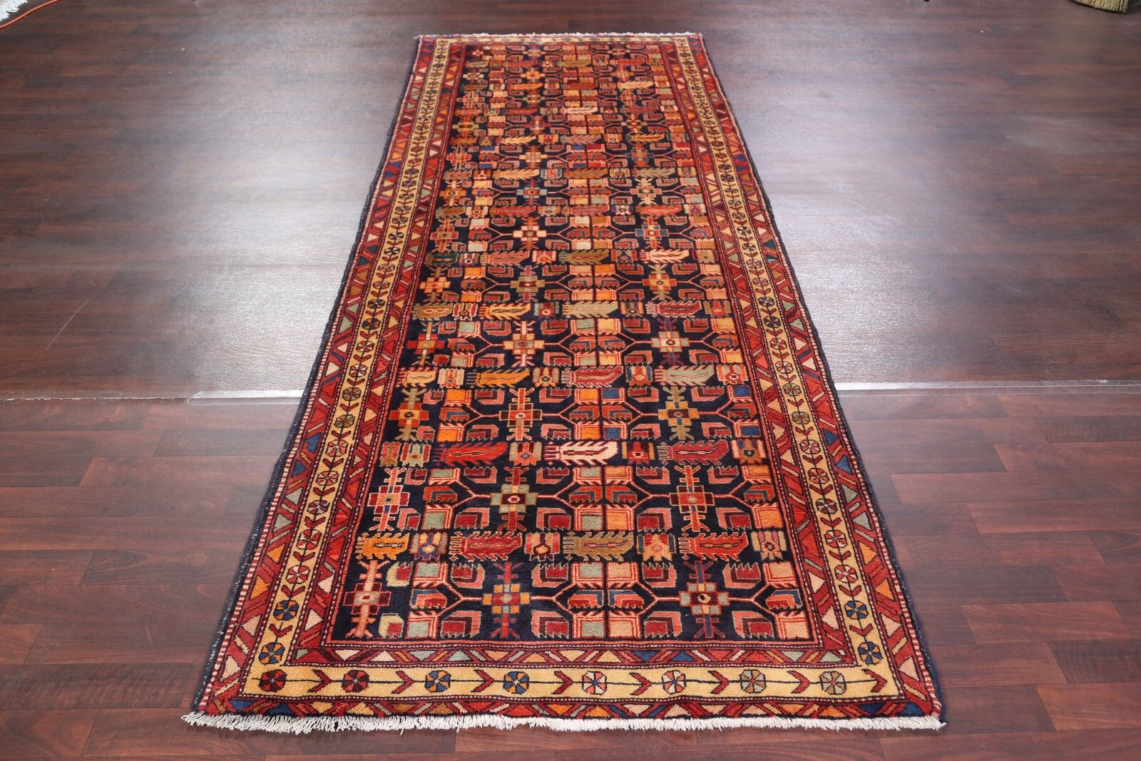 One-of-a-Kind Geometric Tribal Ardebil Persian Hand-Knotted 4'1