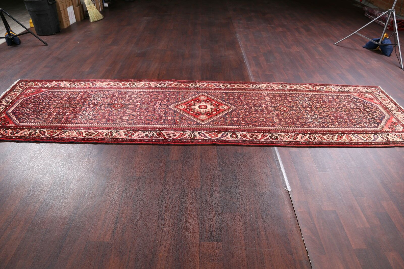 One-of-a-Kind Geometric Hamedan Palace Vintage Persian Hand-Knotted 3'7