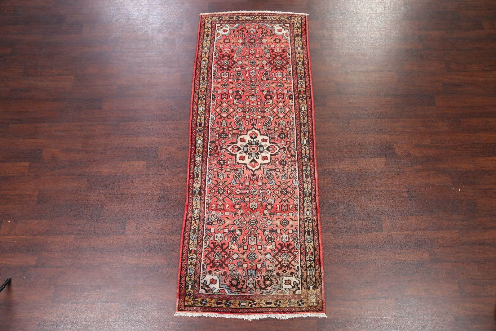 One-of-a-Kind Floral Hamedan Vintage Persian Hand-Knotted 3'7