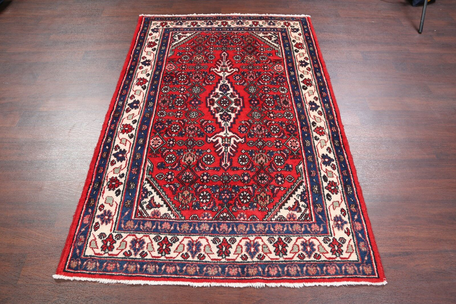 One-of-a-Kind Geometric Hamedan Vintage Persian Hand-Knotted 4'5