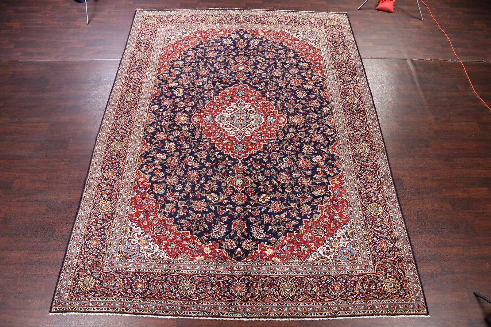 One-of-a-Kind Floral Kashan Vintage Persian Hand-Knotted 10'5